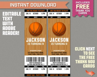 Basketball Ticket Invitation with FREE Thank you Card! - Basketball Birthday, Basketball Party Invitation - Edit and print with Adobe Reader
