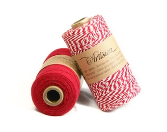 Red and white bakers twine 240 yards 4 ply made in USA 100% cotton twine