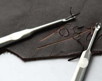 Set of 2pcs  Skiving | Groover |U and V Leather Tool Kit | Edge Beveler | Leathercraft | Leather Carving Tool Set