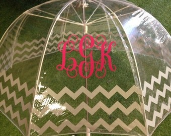 Dome Chevron Umbrella with Vinyl Monogram