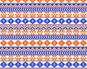 Blue and orange tribal pattern craft  vinyl sheet - HTV or Adhesive Vinyl -  Aztec Peruvian pattern HTV964