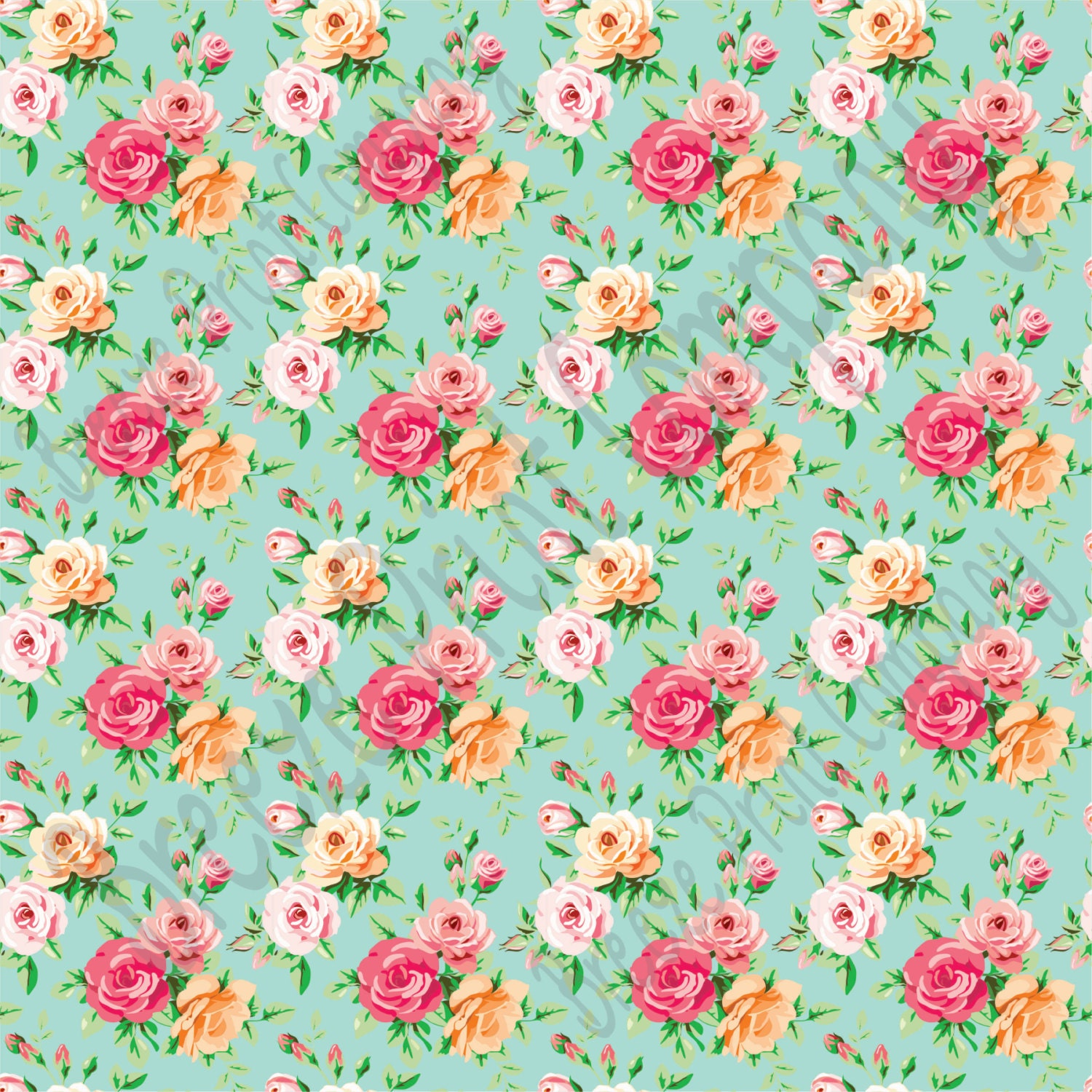 Rose Floral Heat Transfer Or Adhesive Vinyl Sheet With Mint