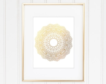 Mandala Wall Art, Mandala Wall Decor, Mandala Print, Faux Gold Foil Mandala, Modern, Geometric, Hindu Decor, Buddhist Art, Home Decor