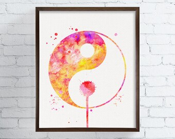 Colorful Yin Yang Art Print, Yin Yang Watercolor, Yin Yang Poster, Yin Yang Painting, Yoga Studio Decor, Zen Wall Art, Meditation Art