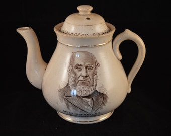 STAFFORDSHIRE TEAPOT - Welsh Historical Interest - 19th century - Very Rare