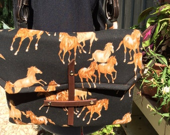 Equestrian Wild Horses IPad Tablet Padded Case  Purse Handbag