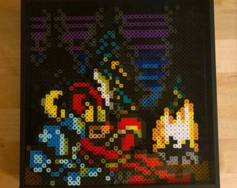Shovel Knight, perler bead, shadow box