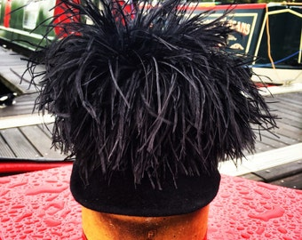 Ostrich feather riding hat/cap