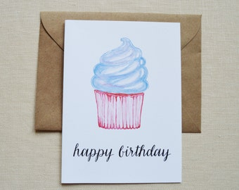 Birthday Card- Happy Birthday Card- Cupcake Card- Watercolor Birthday Card