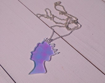 Acrylic Laser Cut Queen's Head Necklace