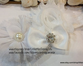 White Flower Headband, Shabby Baby Headband with Bow, Vintage Headband, White Couture Headband, Shabby Bow Headband Baby