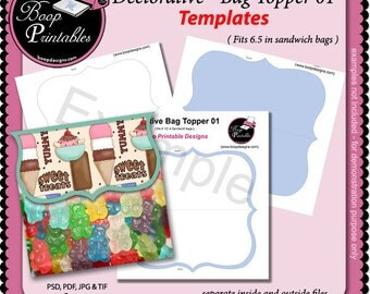 Decorative Bag Topper 01 - Gift or Party Favor TEMPLATE by Boop Printables
