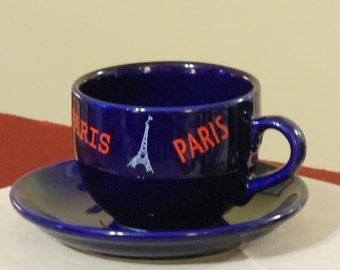Over-Sized Navy Blue Paris-Themed Cup and Saucer