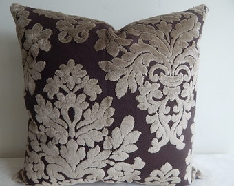 18x18 Elegant Chocolate Pillow Cover in a Sophisticated Contemporary Print