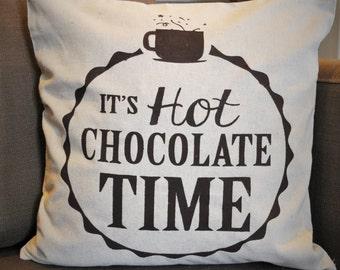 Christmas pillow cover, It's Hot Chocolate Time, Christmas decor