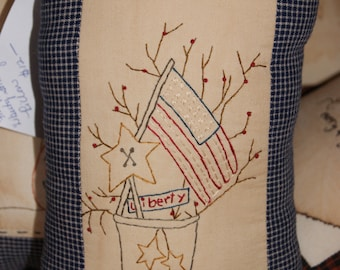 Small Pillow with crock, twigs-n-berries and flag