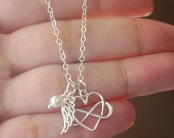 Angel Wing Sterling Silver Necklace, Infinity Heart Sterling Silver Necklace, Angel Wing Birthstone, Memorial, Miscarriage Gift, SSC2CB