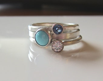 Moissanite Stacking Rings| Moissanite Sapphire Turquoise| Argentium Sterling Silver| White Gold| Recycled Silver and Gold| Ethical
