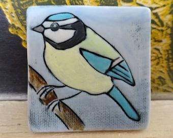 Blue Tit Brooch - large square brooch - wildlife brooch - porcelain bird brooch - handmade bird brooch - garden bird