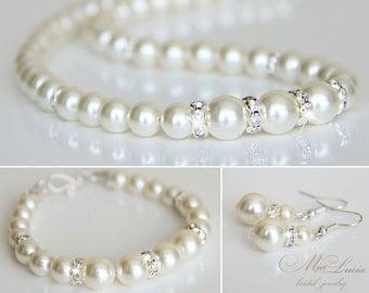 Bridal Jewelry Set, Ivory Swarovski Pearl Bridal Jewelry Bracelet, Cream Pearl Earrings, Necklace Earrings SET, Wedding Jewelry set, art 222