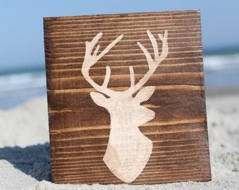 Deer Head Wooden Sign