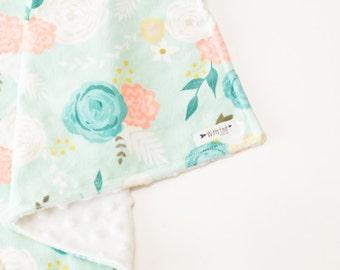 Baby Blanket, FLORAL, lovey blanket, Double Minky, Snuggle Blanket, Security Blanket, baby shower gift