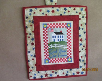 God Bless Our Home wall hanging, Celebrate HOME, ready to hang, machine embroidery, patriotic, religious, inspirational,  gift, country