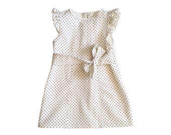 Baby Girl Dresses - Cream Polka Dot Baby Dress - Erica Cream & Black Polka Dot Baby Girl Dress - Dress for Baby Girl - Baby Party Dresses