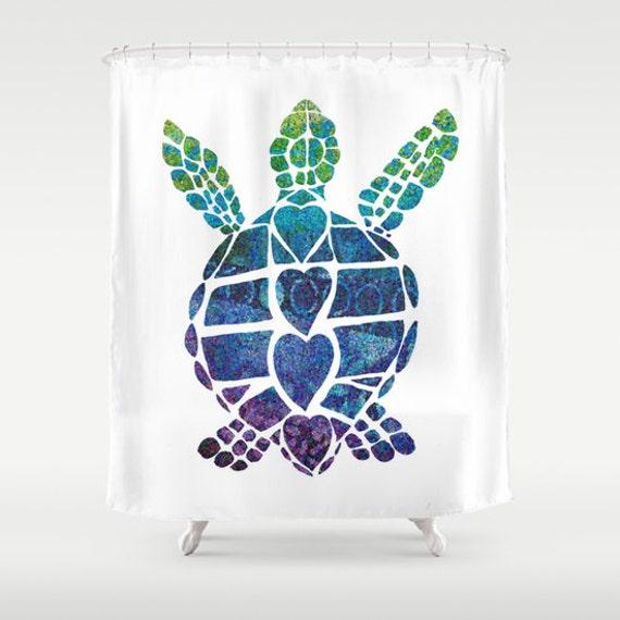 "Sea Turtle Shower Curtain - ""Turtle Island"" Watercolor , Blue Sea ..."