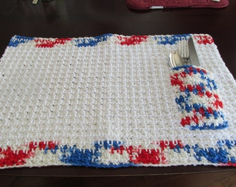 Set of 4 placemats; Set of 4 large placemats; Large cotton placemats with pocket; Cotton Placemats with cutlery pocket