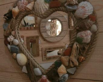 Heart Shaped Beach Themed Mirror