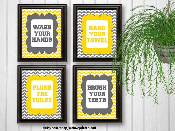 Yellow Bathroom Signs wash your hands sign kids bathroom decor flush the toilet