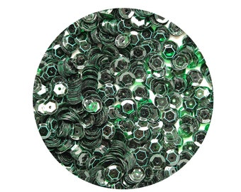 6mm Cup Sequins Facet Paillettes Deep Green See-Thru Transparent