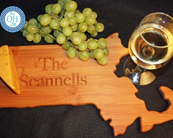 Massachusetts State Shaped Cutting Board Personalized Wedding Housewarming New Home Moving Hostess Host Closing Unique Gift