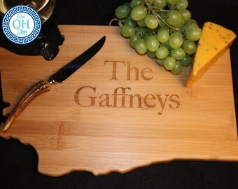 Washington State Shaped Cutting Board Personalized Wedding Moving New Home House Housewarming Closing Unique Gift