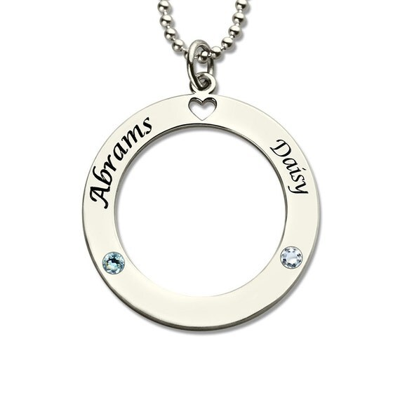 engraved circle name necklace personalized by