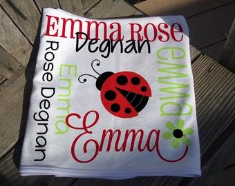 Personalized Ladybug Baby Blanket - Ladybug Receiving Blanket - Custom Ladybug Baby Blanket - Newborn Swaddling Blanket - Baby Photo Prop