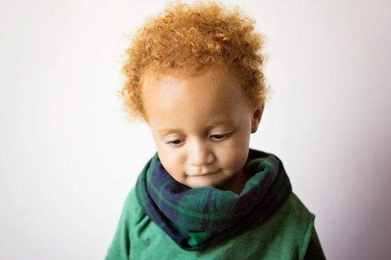 Bib / Scarf / Drool bib / Blue and Green Plaid Drool Scarf with WATERPROOF lining // drool bib // drool scarf // Baby Infinity Scarf
