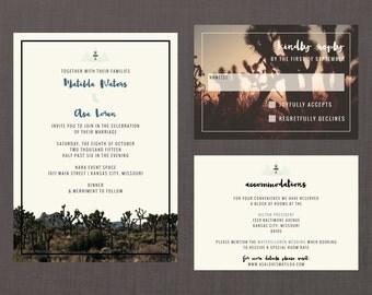 Modern Desert Joshua Tree Wedding Suite // DIY PRINTABLE Invite + RSVP // Modern Wedding, Whimsical Wedding, Desert Invitation