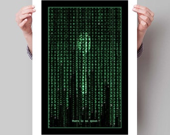 "THE MATRIX Inspired Spoon Minimalist Movie Poster Print - 13""x19"" (33x48 cm)"