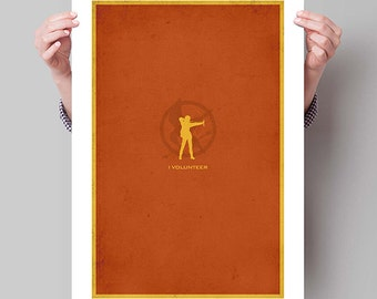 "THE HUNGER GAMES Inspired I Volunteer Minimalist Movie Poster Print - 13""x19"" (33x48 cm)"
