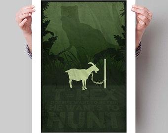 """JURASSIC PARK Inspired """"T-Rex Wants to Hunt"""" Minimalist Movie Poster Print - 13""""x19"""" (33x48 cm)"""
