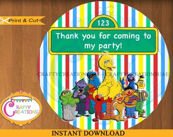 Sesame Street Favor Tags - Sesame Street Thank You Tags - Birthday - Party - Stickers - PRINTABLE - INSTANT DOWNLOAD - CraftyCreationsUAE