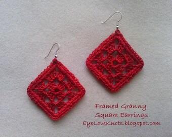 Medium Framed Granny Square Earrings in Poppy Red - Crocheted Earrings - Crocheted Granny Square Earrings