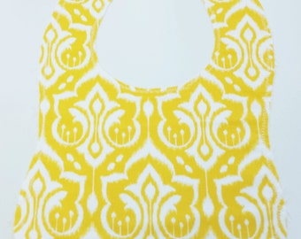 Cotton Baby Bib, Yellow Ikat Reversible Bib, Bib, Yellow Bib, Baby Shower Gift, New Baby, Baby Gift