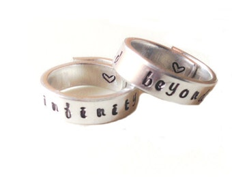 """to infinity and beyond - Set of two  Hand Stamped Ring - Adjustable Aluminum Ring -  Custom Hand-Stamped Ring (1/4"""")"""