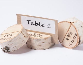 10 Personalized Wood Table Number Holder Rustic Wedding Decor Guest Card Holders Woodland