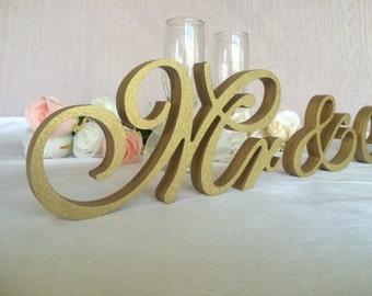 Gold Glitter script letters Mr & Mrs glittered set .Wedding table decor set of signs Mr Mrs . Photo Prop. Wedding signage. Glittered sign.