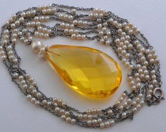 Art Deco Necklace With Glass And Faux Pearls (871g)