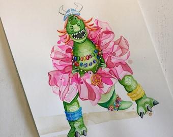 "Partysaurus Rex ORIGINAL 11x14"" Watercolor Painting."
